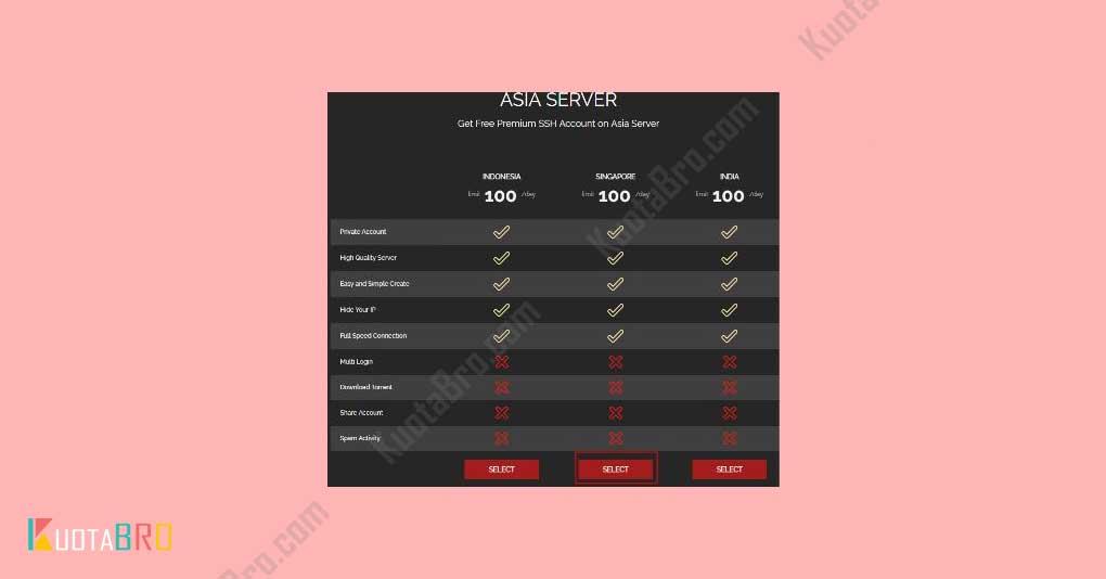Pilih Server Singapore