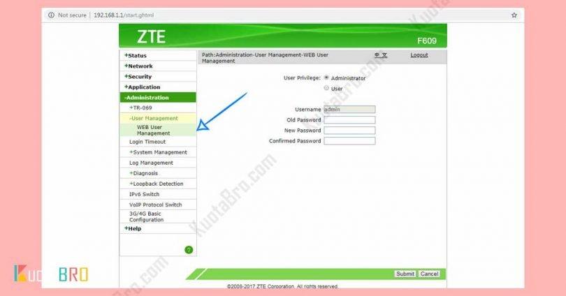 Cara Mengganti Password Modem ZTE F609