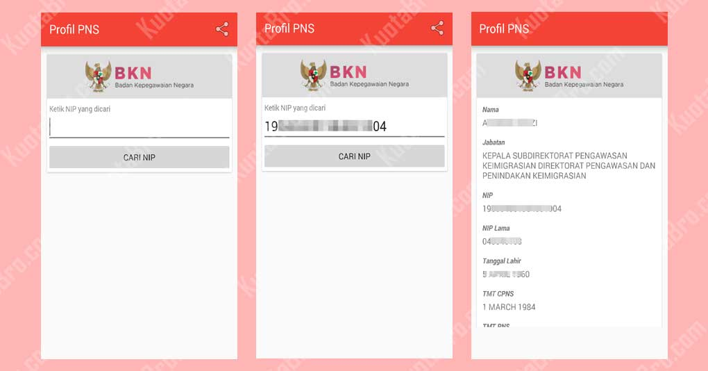 Cek Profil PNS Melalui Aplikasi Cek Profil PNS