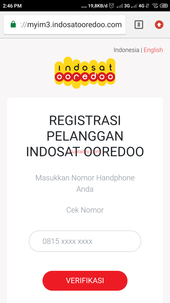cara registrasi kartu indosat lewat sms