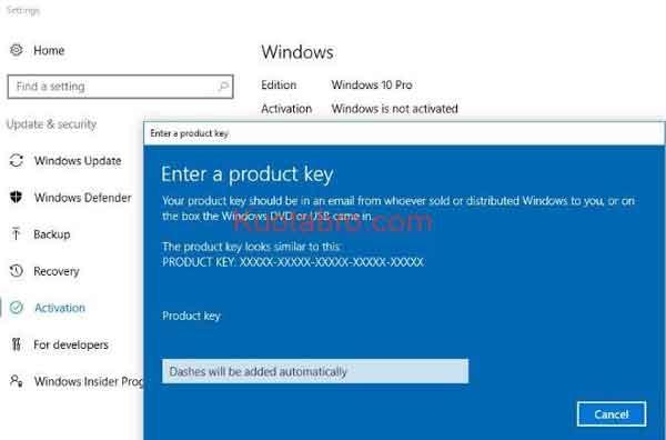 cara aktivasi Windows 10 menggunakan Product Key