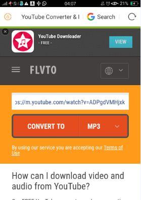 Cara Download Lagu dari Youtube Menggunakan FLVTO
