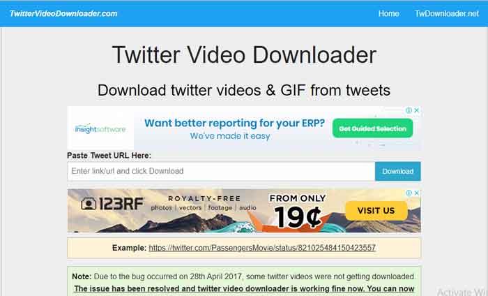 Cara Download Video Twitter via Twittervideodownloader.com