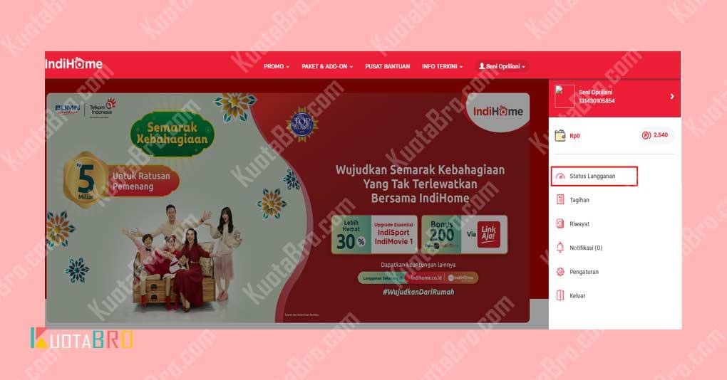 Cek Kuota IndiHome via Website