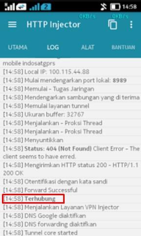 HTTP Injector Telkomsel Terhubung