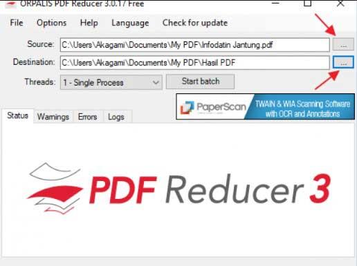 Kompres PDF dengan Orpalis PDF Reducer