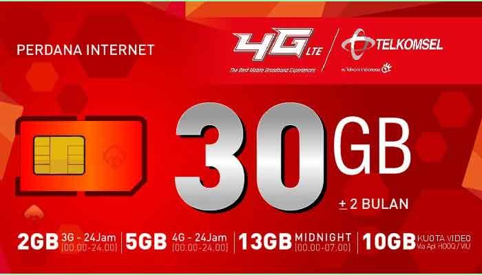 Paket Internet Telkomsel 30GB