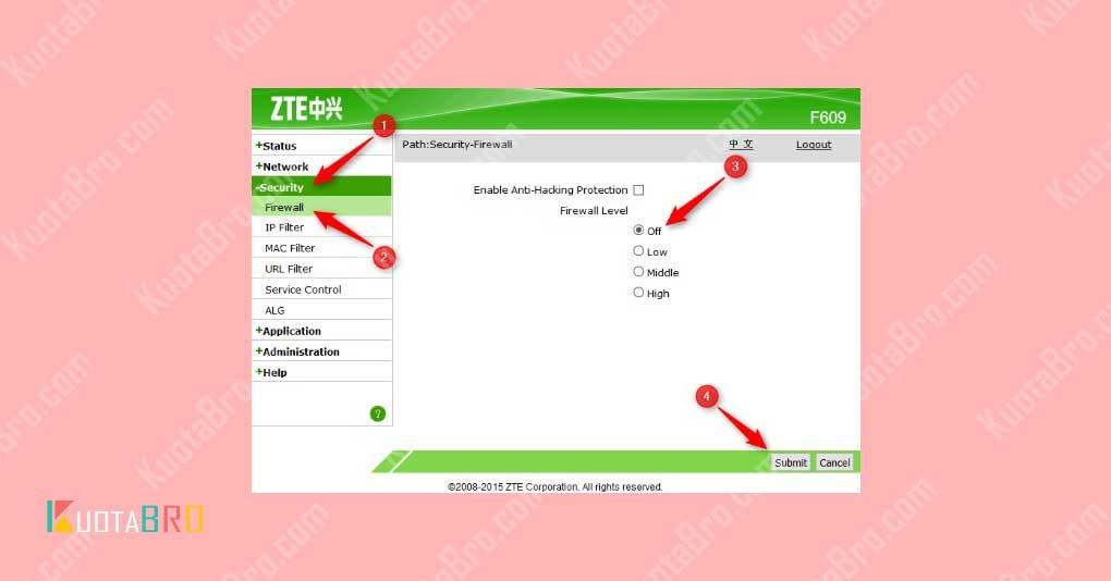 Mematikan Firewall Modem ZTE F609