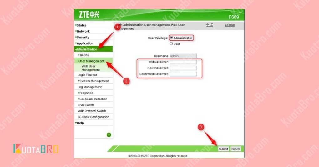 Mengubah Password Modem ZTE F609