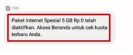 Notifikasi Tembak Paket Telkomsel
