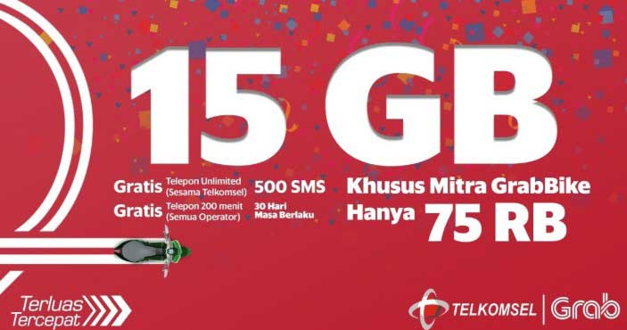 Paket Internet Telkomsel Grab 15GB 75