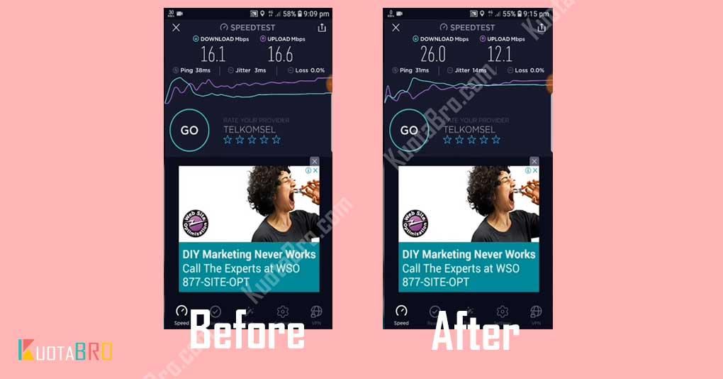 Sebelum dan Sesudah Menggunakan APN