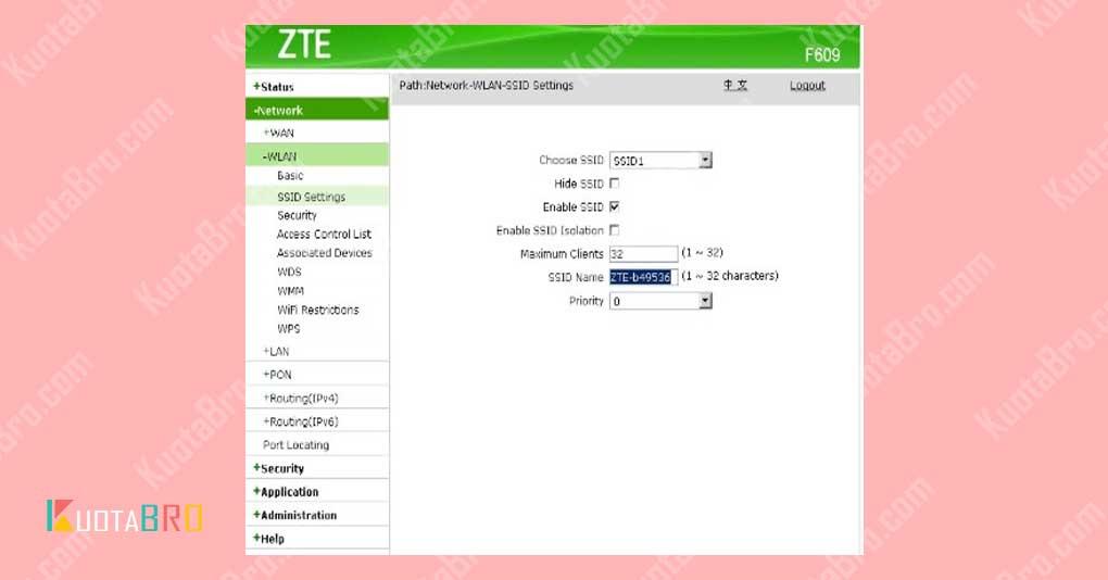 Setting DHCP Server Modem ZTE F609