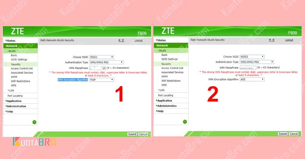 Setting Security SSID1 dan SSID2