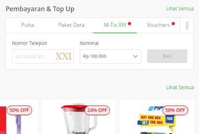 Top Up M-TIX via Tokopedia