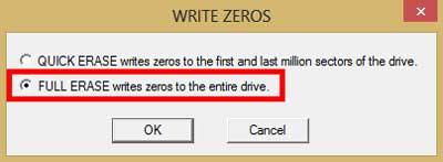 Menggunakan Write Zeros