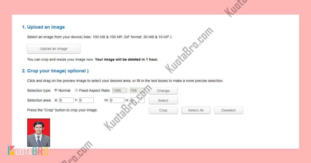 Merubah Foto 3x4 Menggunakan Situs Resizeimage