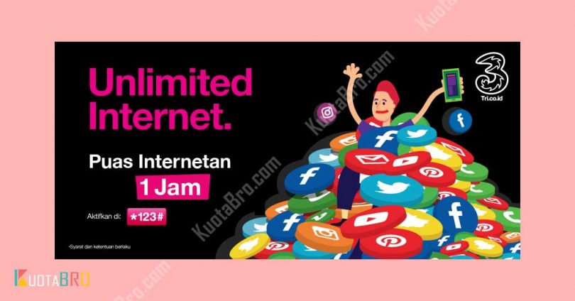 Paket Internet Tri Unlimited 1 Jam