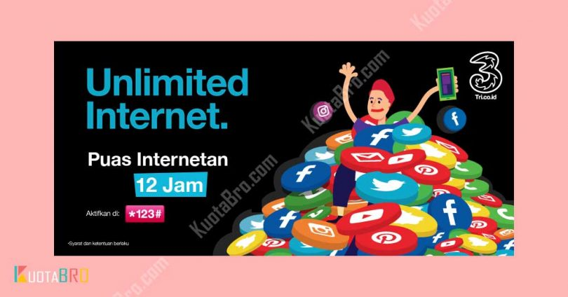 Paket Internet Tri Unlimited 12 Jam