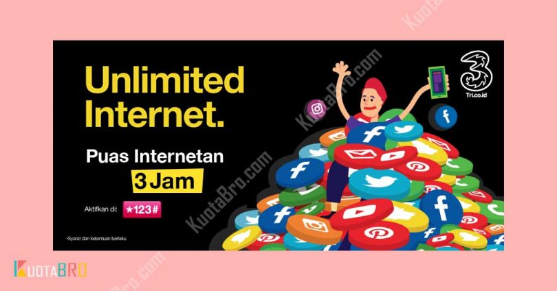 Paket Internet Tri Unlimited 3 Jam