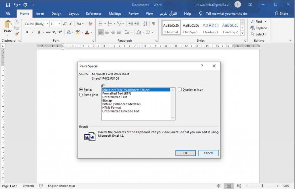 Cara Copy Excel ke Word Agar Tidak Berubah