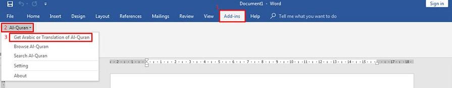 Cara Menggunakan Add In Quran in Word di Microsoft Word