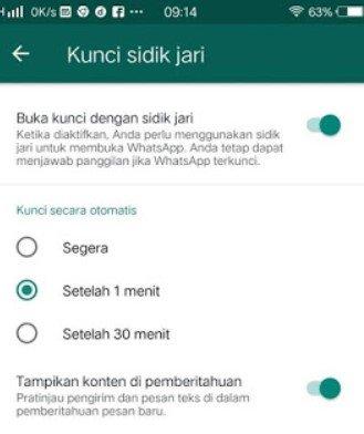 Cara Mengunci WhatsApp dengan Fingerprnt