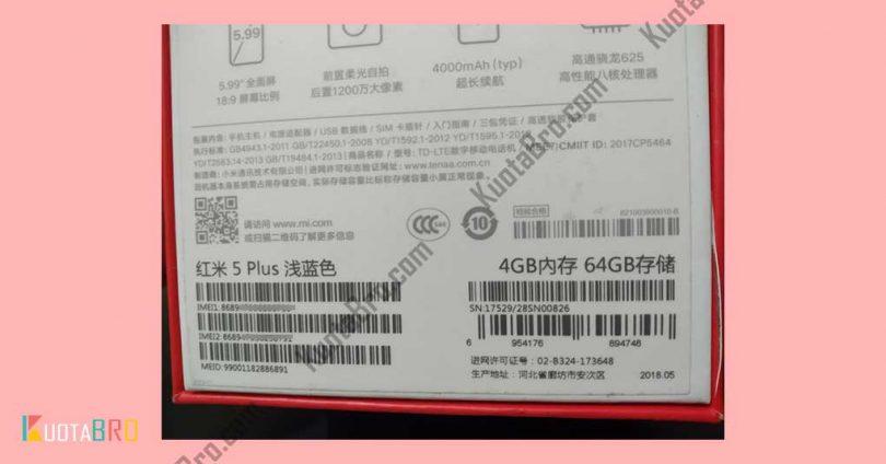 Cek IMEI Xiaomi Pada Box