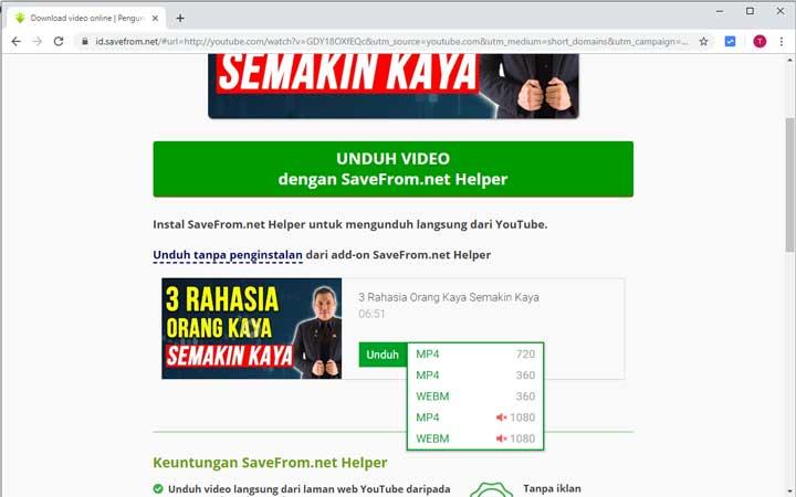 Masuk ke Situs SaveFrom.net