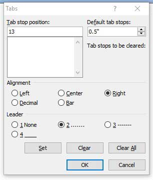 Tab Settings