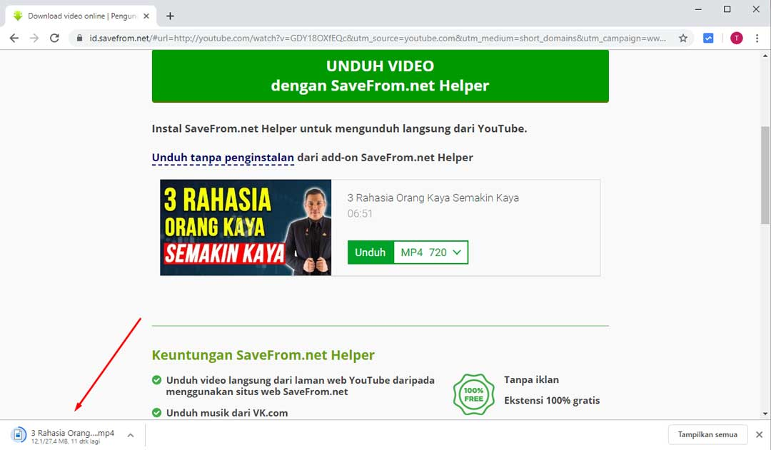Tunggu proses download sampai selesai