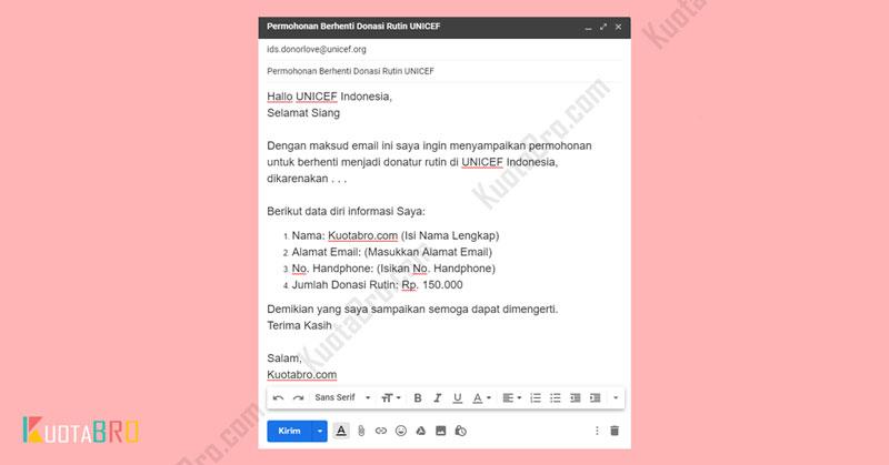 Berhenti Donasi UNICEF Melalui Email
