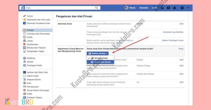 Klik Edit Pengaturan Facebook