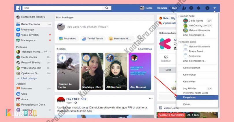 Masuk ke menu Settings Facebook