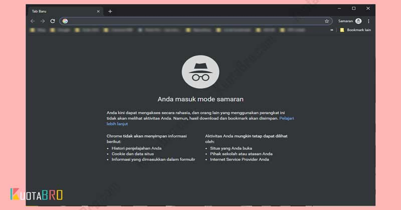 Mengakses Website dengan Mode Private