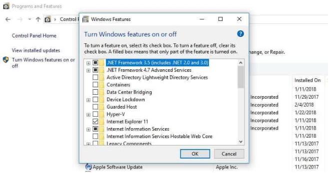 Mengaktifkan, Menonaktifkan Fitur Windows