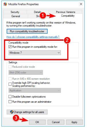 Waktu koneksi habis, jalankan program ini dalam mode kompatibilitas untuk windows 7