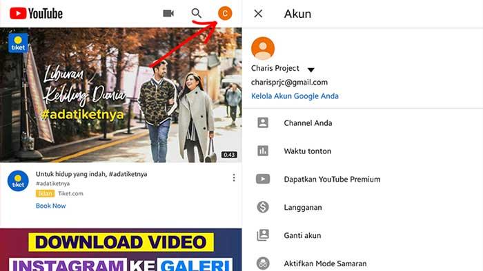 cara membuat channel youtube di android
