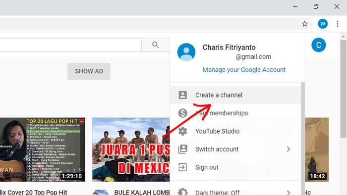 cara membuat channel youtube di komputer