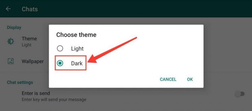 pilih tema dark