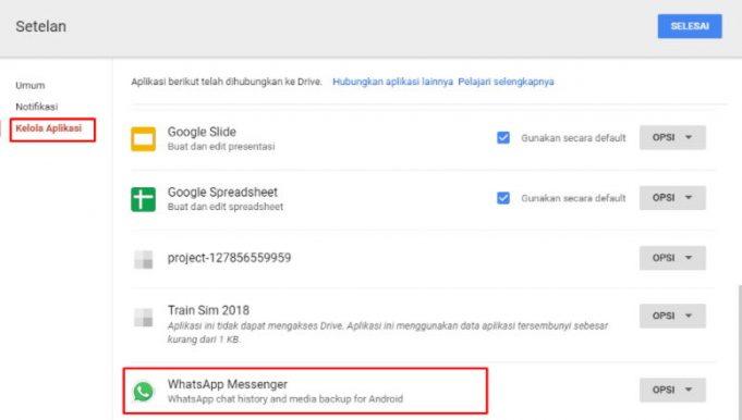 cara melihat back up whatssapp di google drive