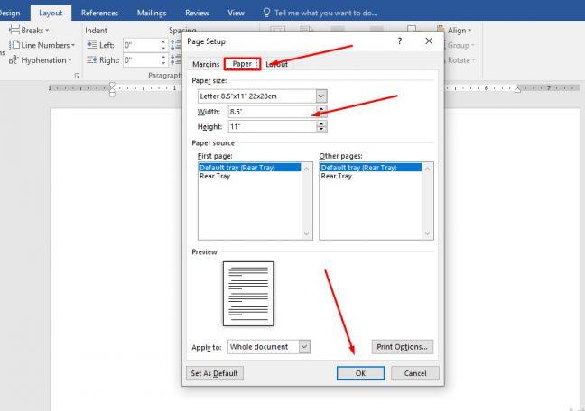 cara membuat ukuran kertas f4 di word