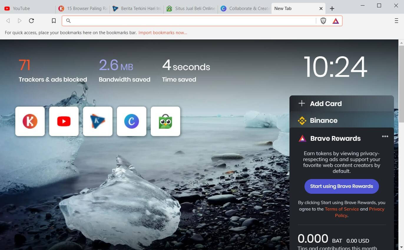 Brave Browser Halaman Depan